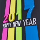 新年快乐在黑色的2017种颜色 免版税库存图片