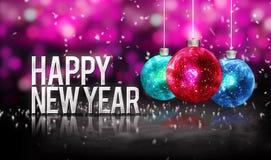 新年快乐垂悬的中看不中用的物品红色蓝色Bokeh美好的3D桃红色 免版税图库摄影