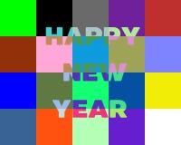 新年快乐字法贺卡 五颜六色的块 库存照片