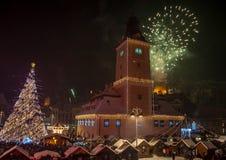 新年快乐布拉索夫! 库存图片