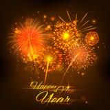 新年快乐庆祝摘要Starburst晒干与烟花的问候背景 免版税图库摄影