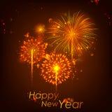 新年快乐庆祝摘要Starburst晒干与烟花的问候背景 免版税库存图片