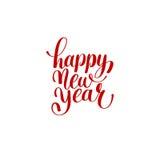 新年快乐手字法祝贺红色题字 免版税库存照片