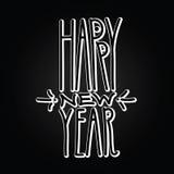 新年快乐手拉的容量白色线性题字 库存例证