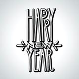 新年快乐手拉的黑线性容量题字 皇族释放例证