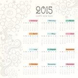 新年快乐日历2015年 免版税库存图片