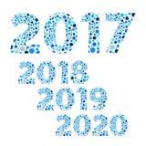 2017 2018 2019 2020年新年快乐泡影传染媒介,蓝色 免版税库存图片