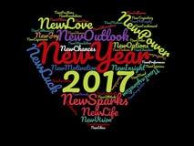 2017年新年快乐激动人心的说法和诱导行情在黑背景原色心脏图表艺术品海报 库存图片