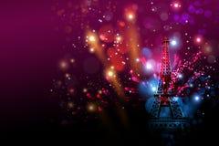 新年快乐烟花巴黎与埃佛尔铁塔或法国天 免版税库存图片