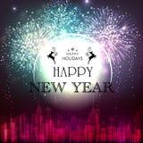 新年快乐的典雅的贺卡 皇族释放例证
