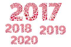 2017 2018 2019 2020年新年快乐红色和桃红色泡影传染媒介隔绝了标志 库存照片