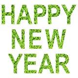 新年快乐英语字母表  由绿草做在隔绝的白色背景 库存图片