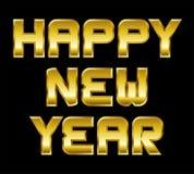 新年快乐,金黄问候,黑背景 免版税库存图片
