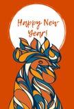 新年快乐-与手拉的雄鸡的卡片 免版税库存照片
