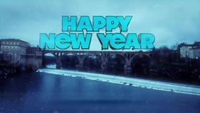 新年快乐-与桥梁的冬天风景在冻河上 库存例证