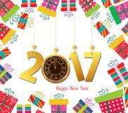 新年快乐2017年 与礼物盒和时钟的庆祝背景 免版税库存图片