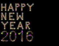 新年快乐2016五颜六色的闪耀的烟花水平的黑色 库存照片