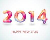 新年快乐2014五颜六色的贺卡 免版税库存图片