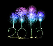 新年快乐- 2015做了一个闪烁发光物 免版税库存照片