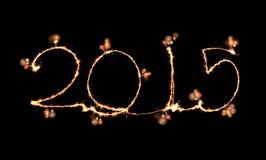 新年快乐- 2015做了一个闪烁发光物 库存图片