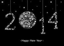 2014年新年快乐贺卡。 库存图片