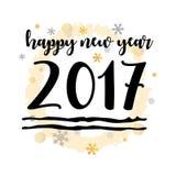 新年快乐2017黑印刷传染媒介艺术 免版税库存照片