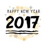 新年快乐2017黑印刷传染媒介艺术 免版税图库摄影