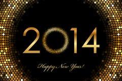 2014年新年快乐2014年发光的背景 免版税库存图片