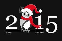 新年快乐2015年和滑稽的猫头鹰 免版税库存图片