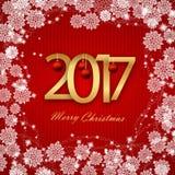新年快乐2017年 圣诞卡,在红色背景的白色文本 蓝色云彩图象彩虹天空向量 向量例证