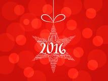 2016年新年快乐 圣诞节星词云彩 皇族释放例证