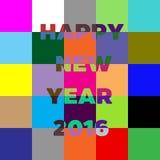 新年快乐2016年在上写字的贺卡 五颜六色的块 免版税库存照片