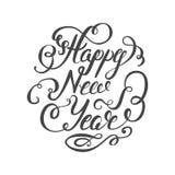 新年快乐2017年在白色背景的手字法文本 手工制造传染媒介书法 库存例证