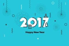 新年快乐2017年 孟菲斯样式文本设计 平的传染媒介例证 免版税图库摄影
