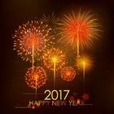 新年快乐2017年庆祝抽象Starburst晒干与烟花的问候背景 库存图片