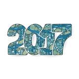 新年快乐2017年庆祝数字 传染媒介在zentangle的Xmas例证 库存图片