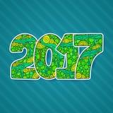 新年快乐2017年庆祝数字 传染媒介在zentangle的Xmas例证 免版税图库摄影