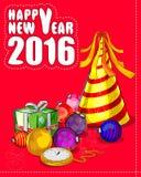 新年快乐2016年庆祝背景 皇族释放例证