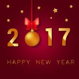 新年快乐2017文本设计 传染媒介与圣诞节球的问候例证鞠躬和星 免版税库存图片
