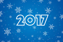 新年快乐2017年 文本设计 平的传染媒介例证 免版税库存图片