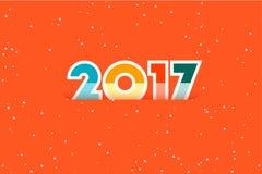 新年快乐2017年 文本设计 平的传染媒介例证 库存图片