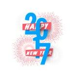新年快乐2017文本设计 免版税库存图片