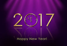 新年快乐2017年 时钟新年度 库存图片