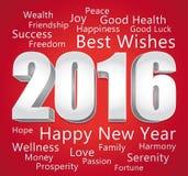 2016年新年快乐 最好祝愿 红色和银色卡片 向量例证
