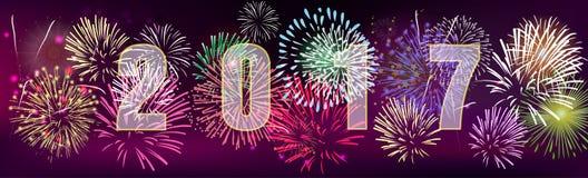 新年快乐2017年横幅 皇族释放例证