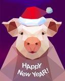 新年快乐!猪- 2019年的标志 免版税库存照片