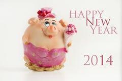 新年快乐2014年猪 免版税库存照片