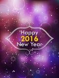 新年快乐2016现代盖子 在被弄脏的bokeh背景的雪花 库存照片