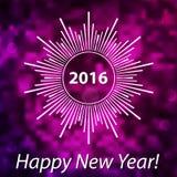 新年快乐2016现代盖子 在被弄脏的bokeh bac的雪花 库存例证