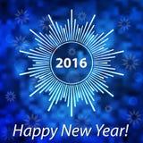 新年快乐2016现代盖子 在被弄脏的bokeh bac的雪花 向量例证